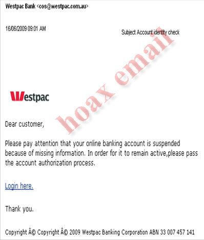 Hoax email example 30 June 2008